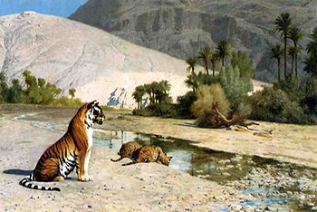 God knows! Erotic tigress oil paintings excited too