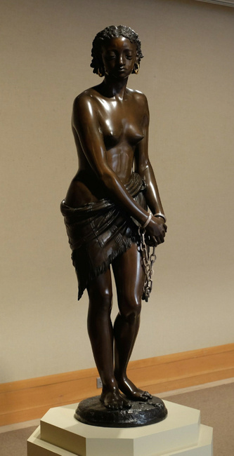 Neoclassical Chained Bronze Sculpture Lady Marble Base Statue by Thomas Decor T